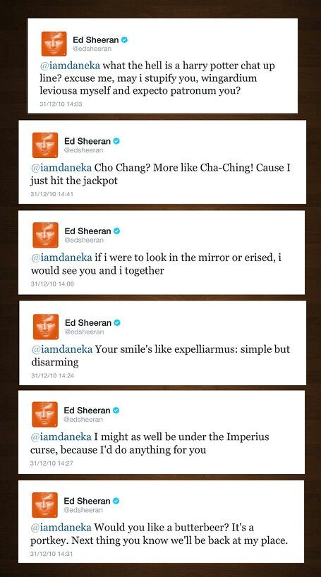 Ed Sheeran writes Harry Potter chat up lines.  The expelliarmus one is my favorite along with the butterbeer one.
