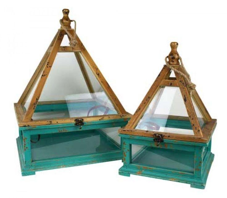Set of 2 x Wood & Glass Terrariums - Teal Blue 50cm & 30cm tall - modern geo