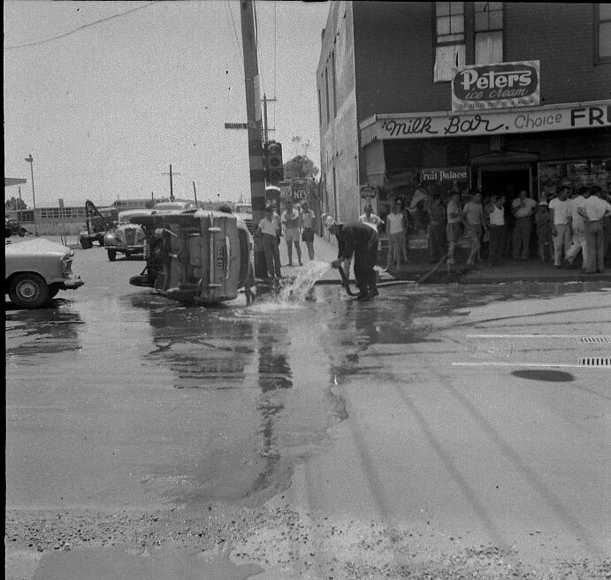 This was a scene at the cross roads in Maidstone, Footscray, Melbourne Australia 1960