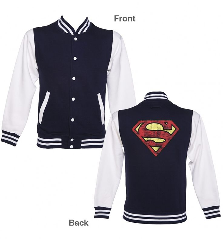 Unisex Distressed Superman Logo Varsity Jacket