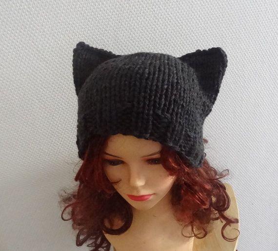 women hat Cat Ears Hat Cat Beanie Chunky Knit Winter by Ifonka