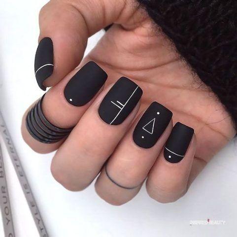 nail inspiration  black acrylic nails squoval nails