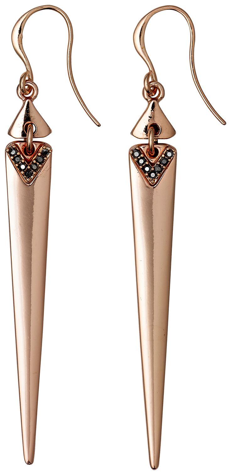 #Earrings #Pilgrim Arrow Drop Earrings, Rose Gold £27.99