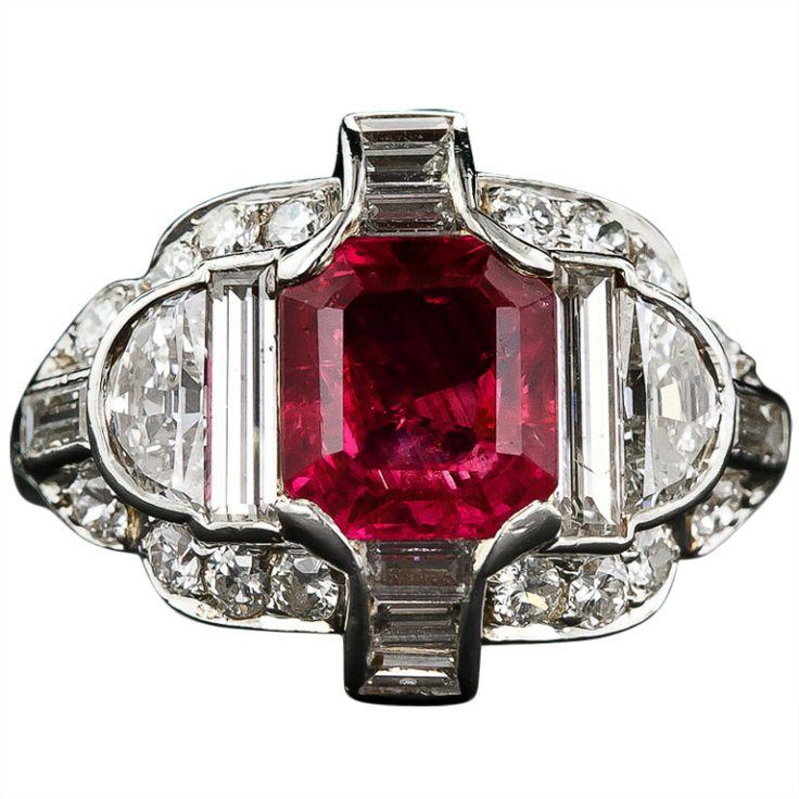 Exceptional Art Deco No-Heat Burma Ruby Diamond Platinum Ring | 1stdibs.com