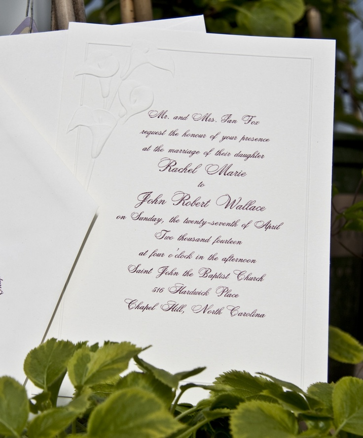 Calla Lilies Are Embossed Beautifully On This 100% Recycled White Wedding  Invitation