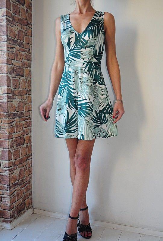 92a1211bd7 H M sukienka kremowa w liście casual 34 - Vinted