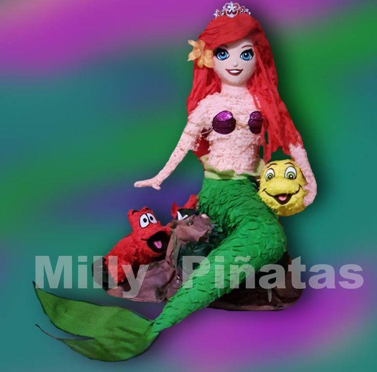 Piñata Ariel, little maermaid, Flounder, Sebastian, Sirenita, Milly piñatas exclusivas