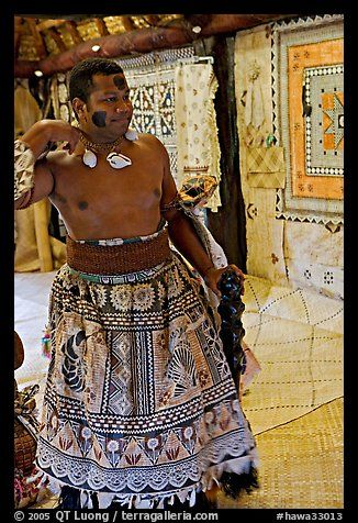Fiji tribal chief inside vale levu house. Polynesian Cultural Center, Oahu island, Hawaii, USA