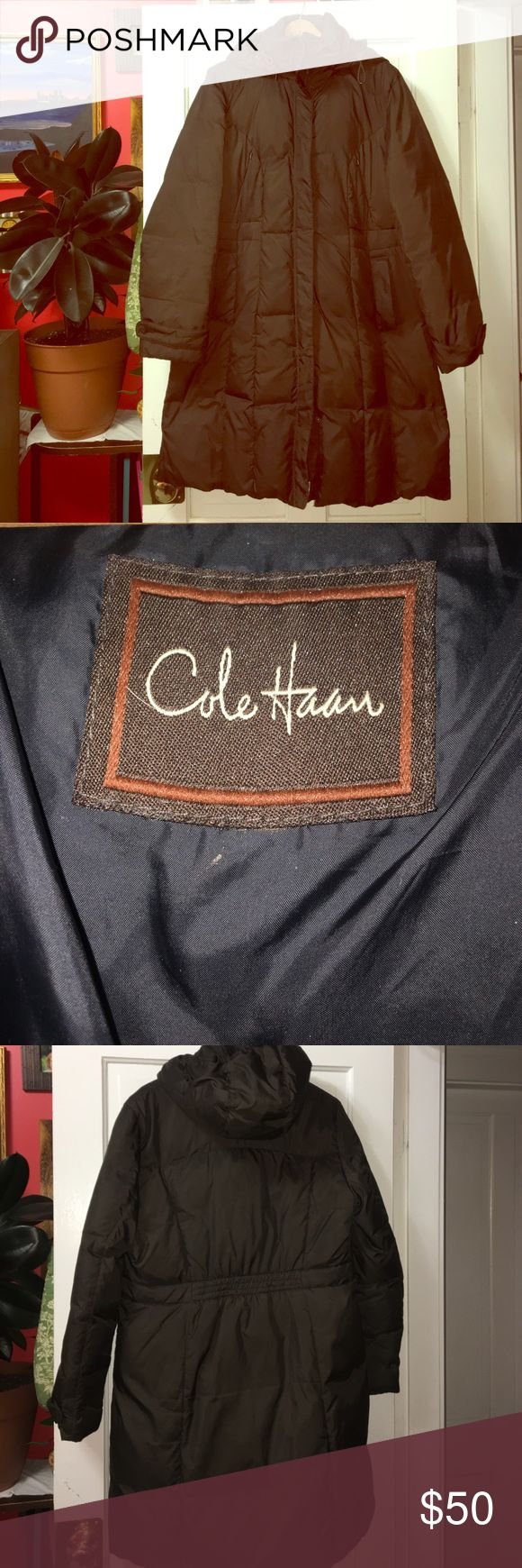 Cole Haan Down Coat Really warm winter coat that falls mid thigh. The size isn't listed on the coat  but I believe it was a 16. The good is also down filled for added warmth Cole Haan Jackets & Coats Puffers