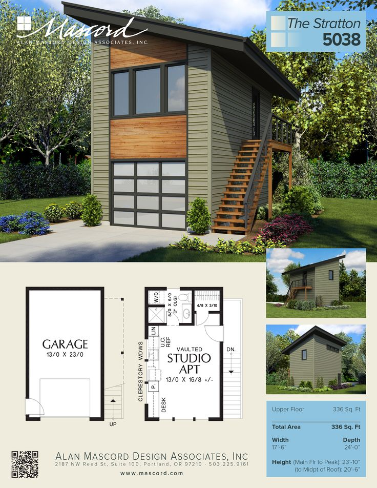 A New Contemporary Garage Plan, With Studio Apartment