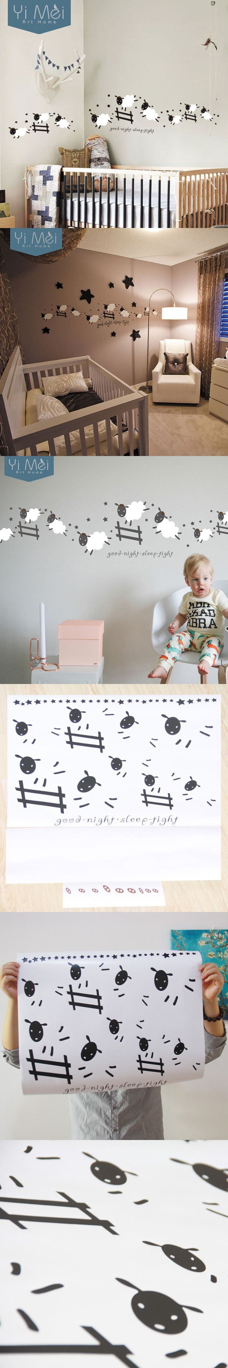 Jumping Sheep Wall Sticker -Good Night, Sleep Tight Decal Sticker Counting sheep Decal Sticker 40*120CM Home Decoration
