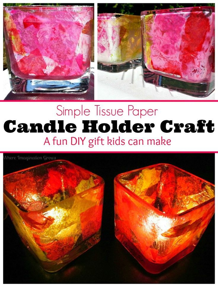 Tissue Paper Candle Holder Craft! A simple DIY gift preschoolers can make! Perfect for Mother's Day!
