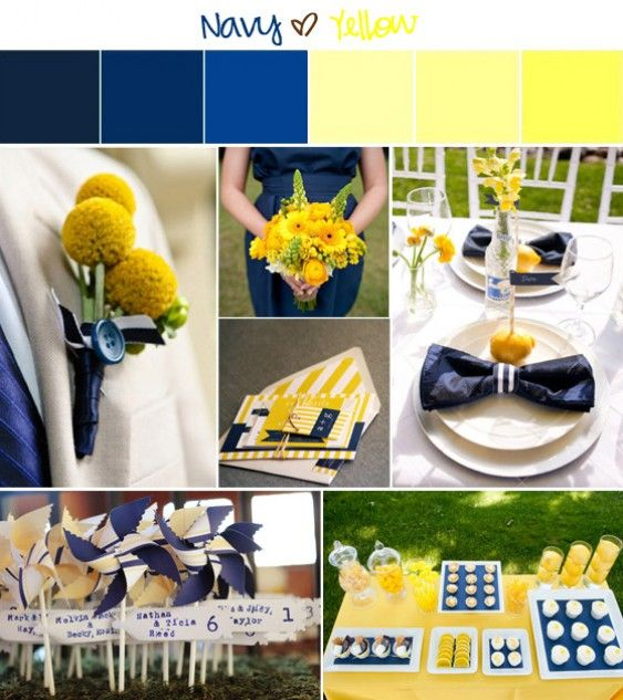 Navy Blue and Yellow Inspiration Board
