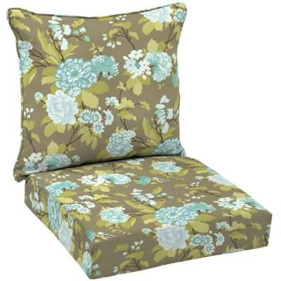 Hampton Bay Virginia Floral Welted 2-Piece Pillow Back Outdoor Deep Seating Cushion Set-AD10911B-9D1 at The Home Depot