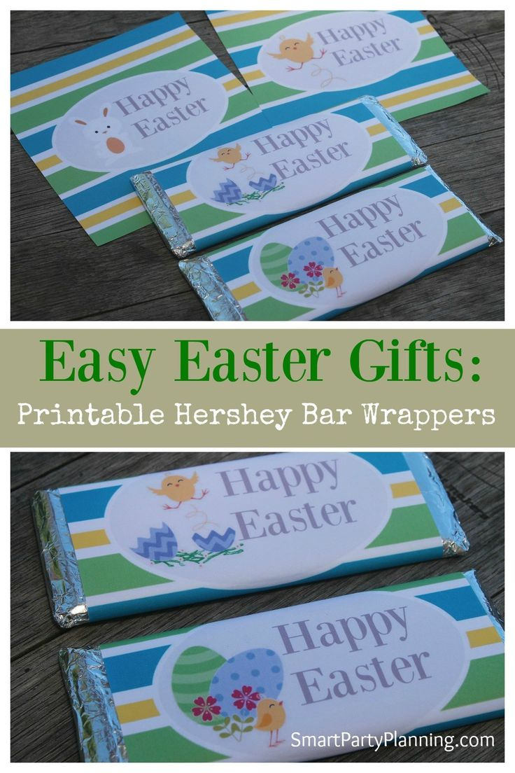 Need some gift ideas for Easter? Printable Hershey bar wrappers make the perfect Easter DIY gifts for the kids to give to their friends at school. They are easy to use gifts and are great on the budget too. #Easter #Printable #Candywrapper