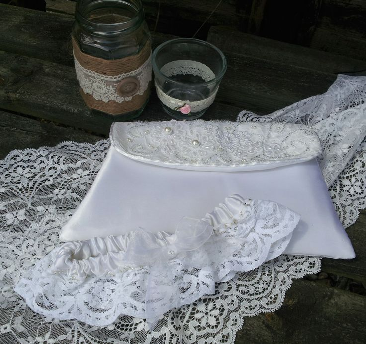 Handmade bridal clutch bag and garter made from remnants of 1950's wedding dress