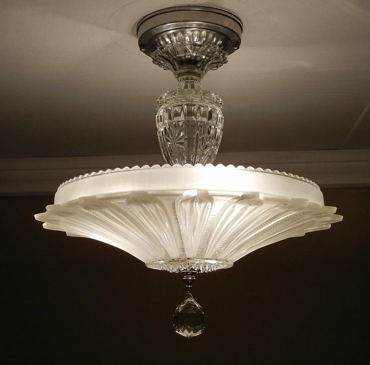 Vintage Revivals Light Fixture: Vintage Art Deco Antique SUNFLOWER PETAL Pressed Frosted