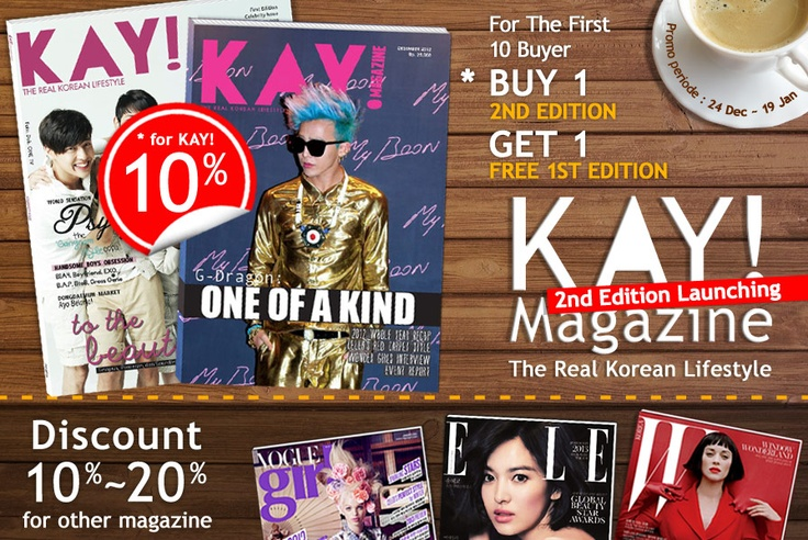 Yes24 Indonesia - KAY! Magazine 2nd Edition Launching Diskon 10% + KAY! Magz 1st Edition + 2013 Calendar untuk setiap pembelian KAY Magz 2nd Edition | http://www.yes24.co.id/SpecialEvents/483610?cid=pinterest