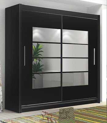 INSTRUMENT ROOM4 BLACK (180cm) Modern Large 2 Sliding Door Mirrored Wardrobe