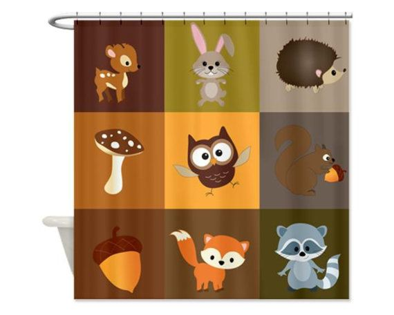 Woodland Patchwork Kids' Shower Curtain Perfect by HappywoodGoods