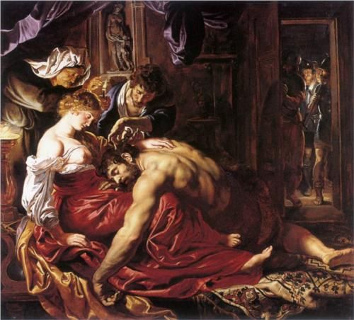 "Peter Paul Rubens (1577-1640) Samson and Delilah Oil on wood c1609 ""She spoke so kind and she talked so fair Well, Samson said,""Delilah cut off my hair You can shave my head, clean as my hand And my strength will become as natural as any old man"""