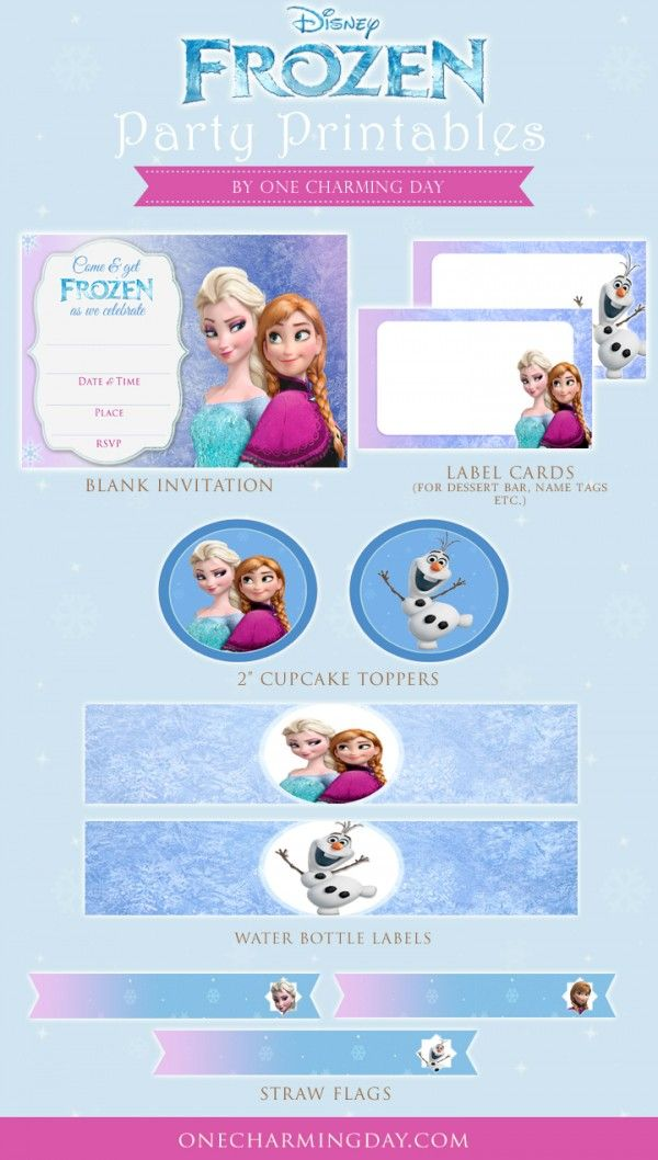 Free Frozen Party Printables. Includes: Frozen Party Invitation Card Frozen Cupcake Toppers Blank labels Straw Flags Water Bottle Labels