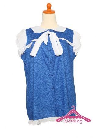 Baju untuk ibu hamil motif batik dengan sistem printing yang mengkombinasi bahan sifon cerutti.