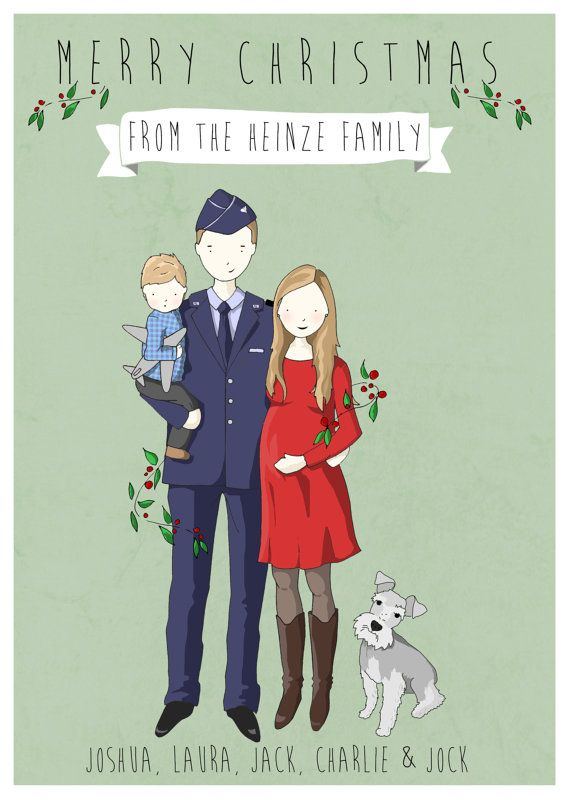 Custom Family Christmas card by drawingdan on Etsy, $105.00