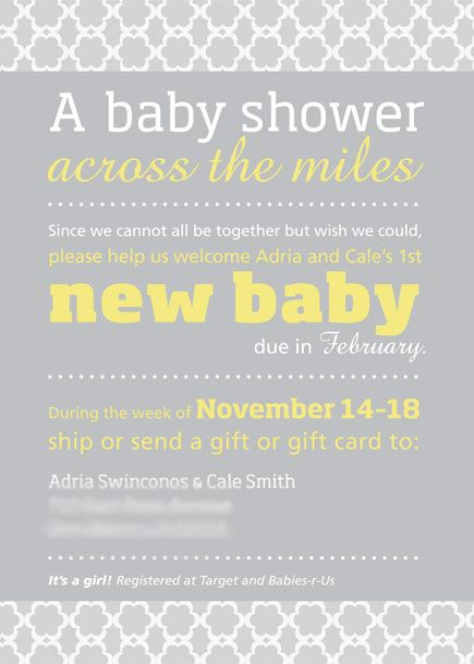 Customizable baby shower invite for a long-distance / virtual baby shower — $25