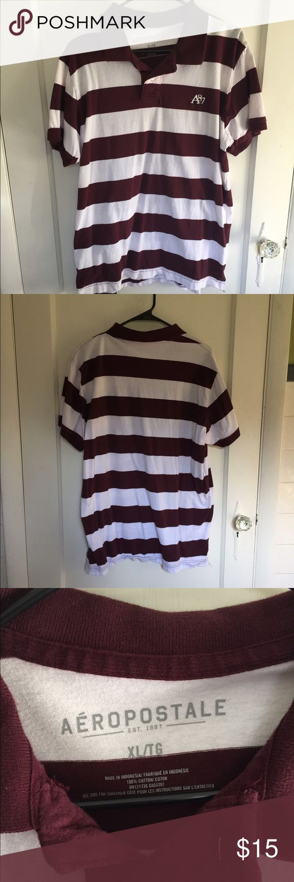 Maroon and white striped polo shirt An Aeropostale XL polo shirt, great condition- close up of colors and size in last photo Aeropostale Shirts Polos