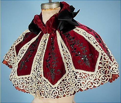 c. 1895 A. WALLES, 15 Rue Auber 15, Paris---Deep ruby velvet, lace and jet beaded caplet.