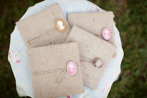 cameo and burlap wedding invites!