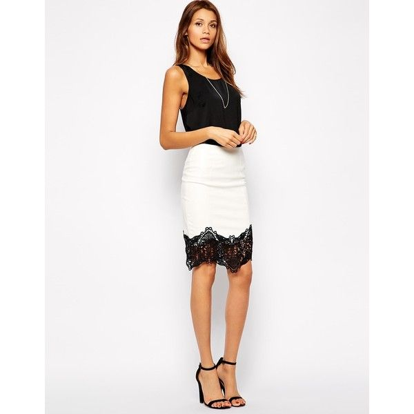Lipsy PU Pencil Skirt with Lace Trim (225 BRL) ❤ liked on Polyvore featuring skirts, white, body con skirt, high-waist skirt, high waist skirt, white high waisted skirt and white pencil skirt