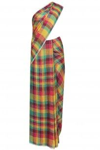 Multicolor checks zari border sari with running blouse piece