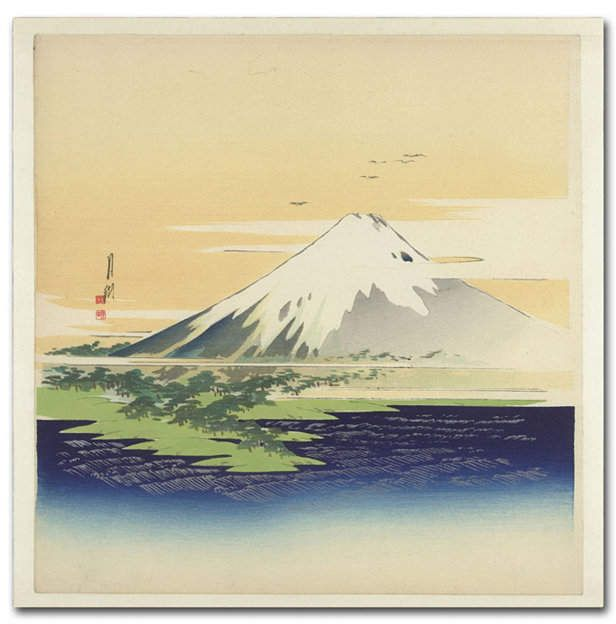 Ogata Gekko 'Fuji from the Beach at Mio' Canvas Art – 24 x 24