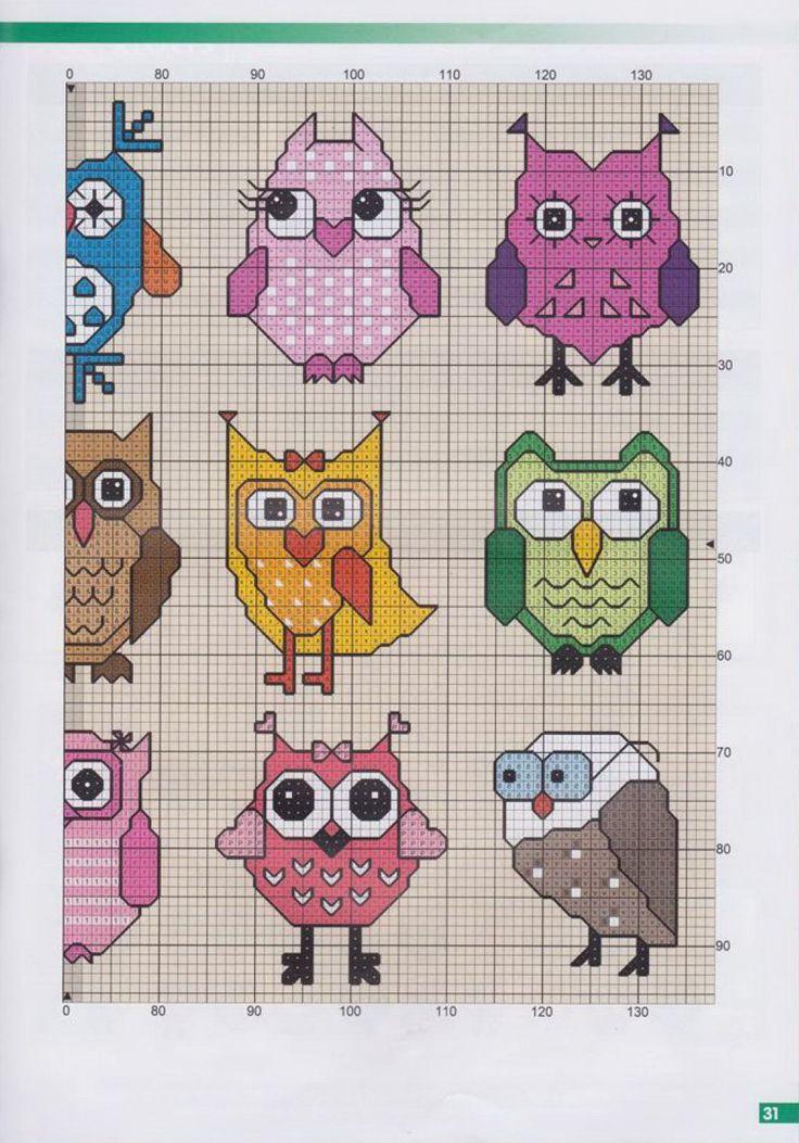 Owl cross stitch patterns part 1