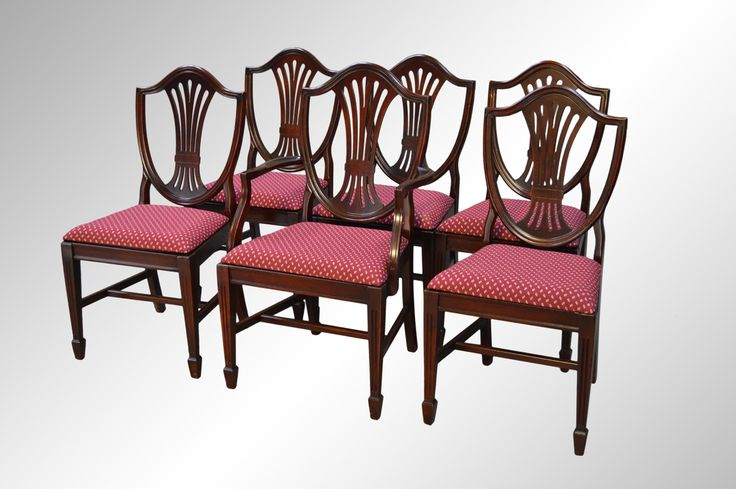 Sold set of six mahogany duncan phyfe shield back dining for Dining room tables 1940s