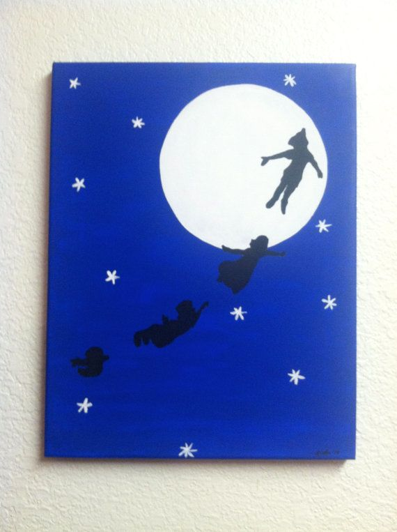 Disney Silhouette Painting - Peter Pan flies with Wendy, John & Michael to Neverland (Hand painted, no stencils, custom background colors)