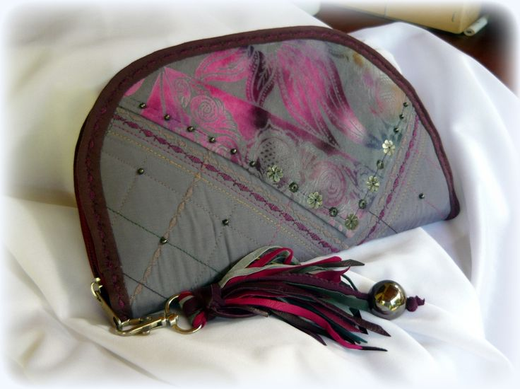 Handmade by Judy Majoros - Purple fringe wallet-clutch with multicolour leather fringe. Recycled wallet-bag.