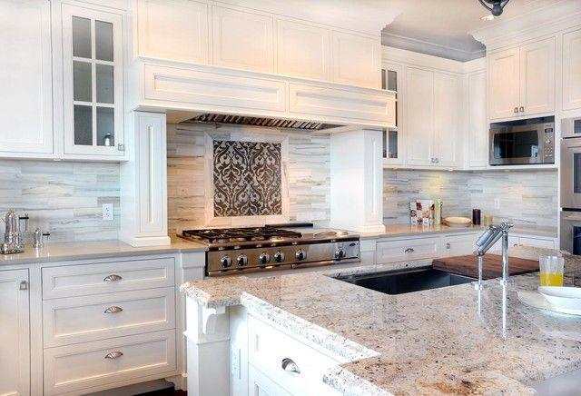 10 Houzz Kitchen Countertops And Backsplashes Photos Transitional Kitchen Design Granite Kitchen White Granite Kitchen