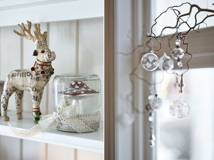 HVIT JUL PÅ BALKE GÅRD: Lag pynten selv. Til venstre: Snø i kule Det er lekende lett å lage din egen magiske snøkule av syltetøyglass. Dette trenger du: Syltetøyglass som er tett // leke eller julepynt // glitter // bånd Slik gjør du: 1. Sjekk først at syltetøyglasset er helt tett. 2. Lim deretter en leke eller julepynt på innsiden av syltetøylokket. 3. Fyll syltetøyglasset med vann. Bruk kokt vann for å slippe luftbobler. 4. Ha i glitter og skru lokket på. 5. Knyt et fint bånd rundt lokket…