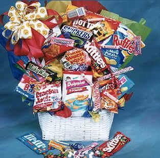 27 best fruit and gourmet gift baskets candy bouquets images on winfiled flower shoppe offers a junk food fantasy with same day delivery negle Gallery
