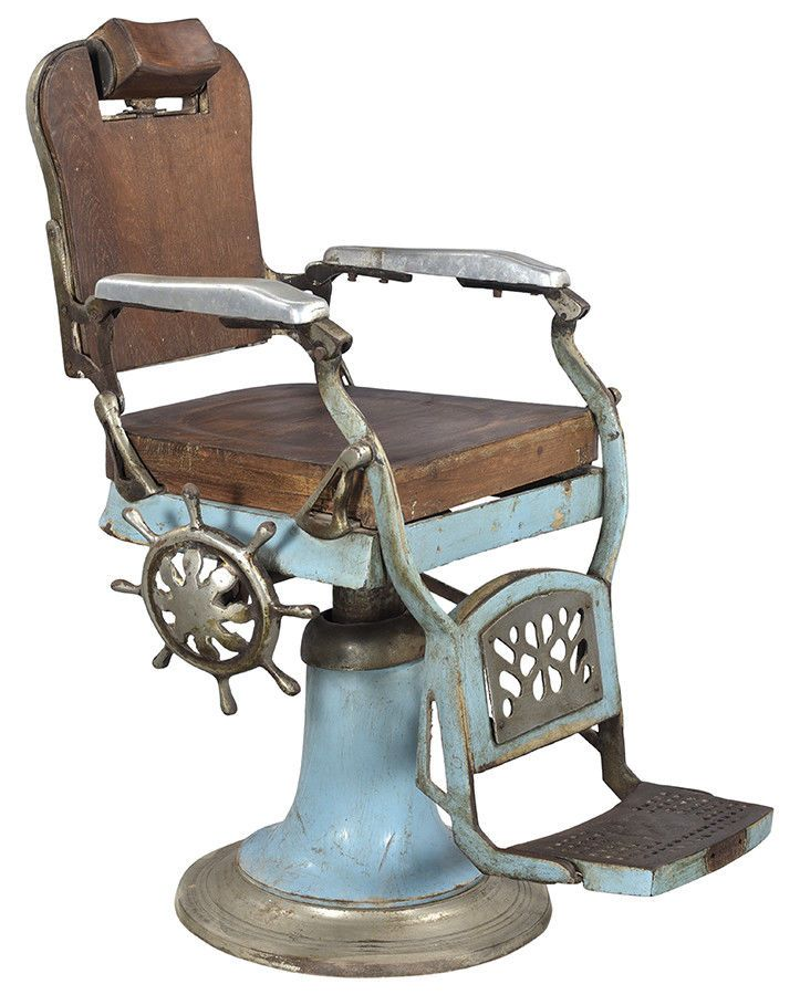 Antique Classic Vintage Barber Chair Wood And Metal 36 X 41 H