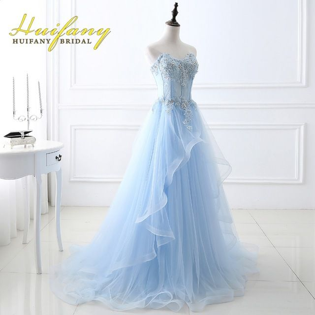 Huifany pastel elegante longo azul prom vestidos tulle lace applique com grânulos de cristal corpete sheer vestido de festa evening dress