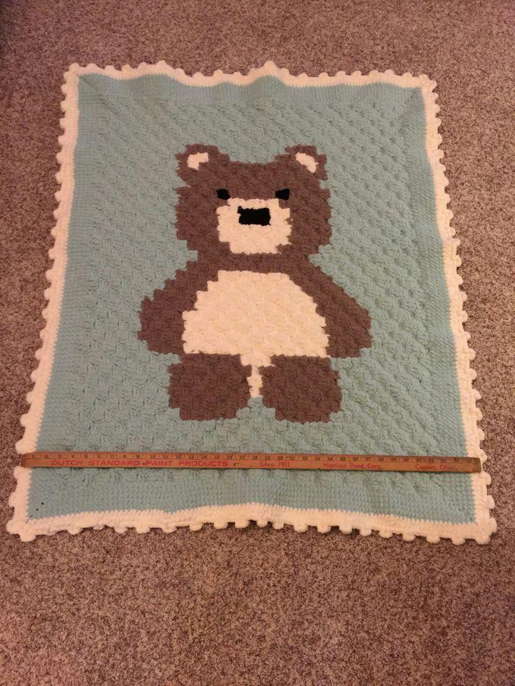 c2c crochet bear baby blanket afghan
