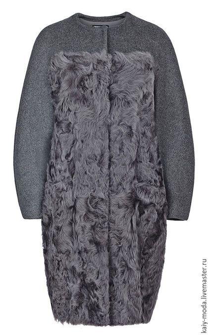 Верхняя одежда ручной работы. Ярмарка Мастеров - ручная работа. Купить Пальто из меха овчины и шерсти. Handmade. Темно-серый