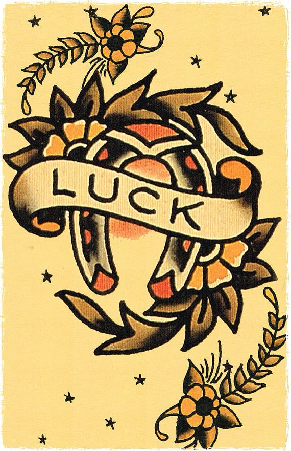 "Good Luck Tattoo design. I've read a horseshoe turned this way let's ""all the luck fall out"" so I'd provably have my artist flip it the other way for an actual tattoo"