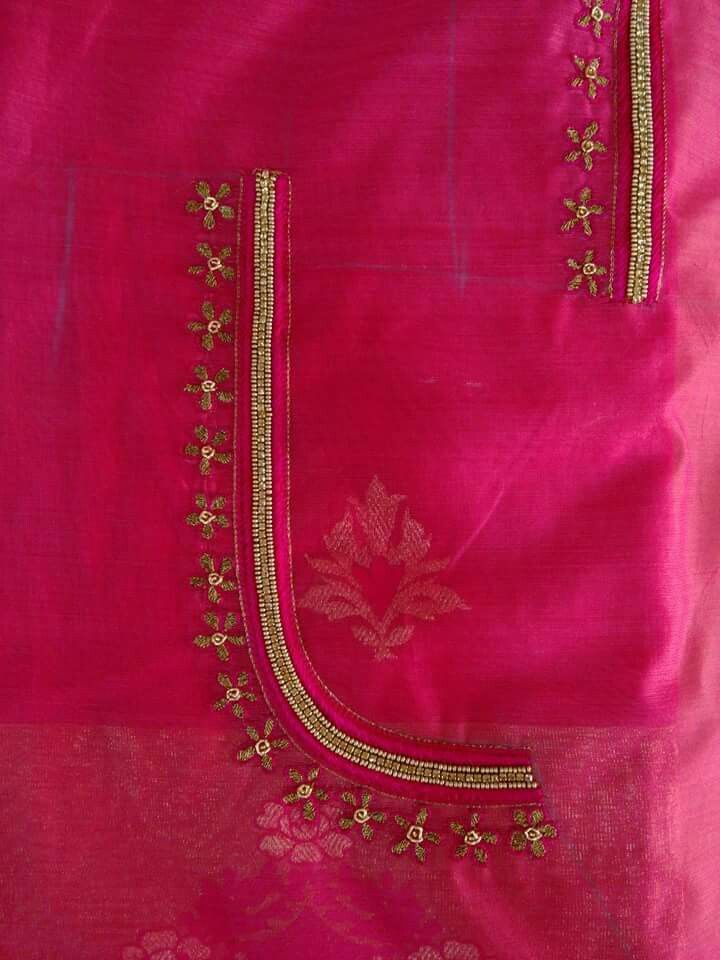 Embroidery on saree blouse neck makaroka