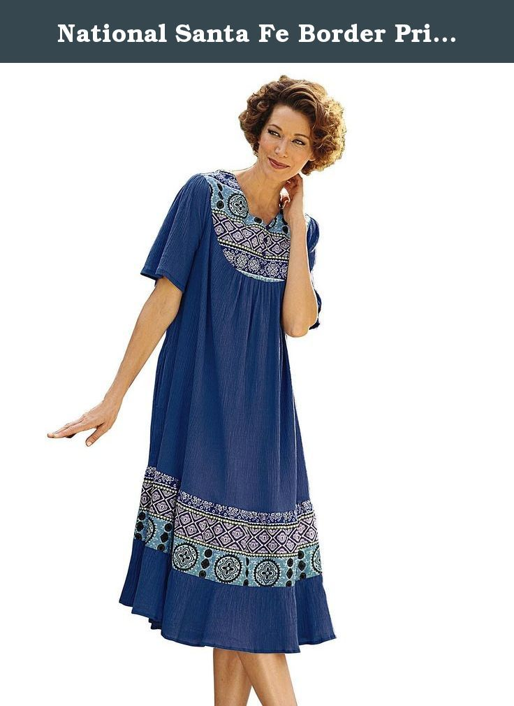 National Santa Fe Border Print Dress, Royal, 2X. Southwestern style meets classic styling in our Santa Fe Border Print Dress. Made with distinctive, all-cotton crinkle fabric, this casual dress provides a cool, comfortable alternative to your everyday wardrobe. Designed with a roomy back yoke and flutter sleeves, it drapes beautifully for a flattering fit.* 100% Cotton * Imported * Machine wash, dry * Sizes: Misses S, M, L; Women's 1X, 2X, 3X * Approx. lengths: Misses (44'') ; Women's…