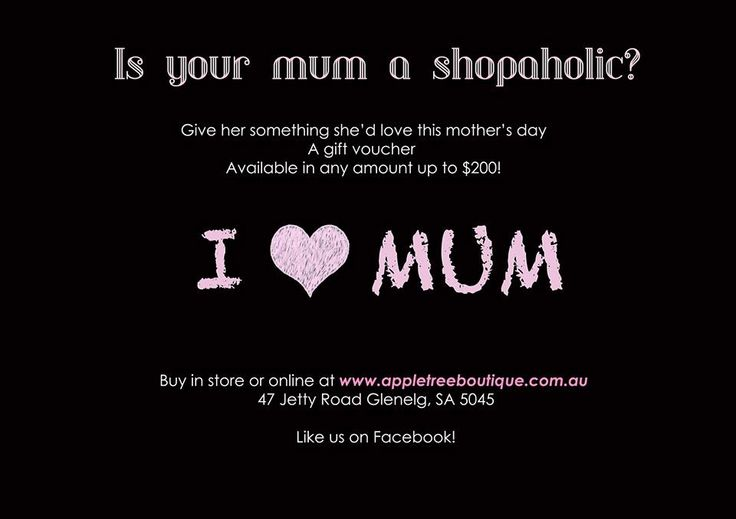 Celebrate Mum in style this Mother's Day with gift vouchers available online & in store www.appletreeboutique.com.au 47 Jetty Rd Glenelg, SA 5045 #mothers #day #love #mum